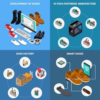 Iconos isométricos de fábrica de calzado con zapatos inteligentes