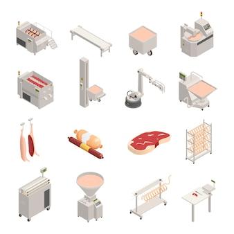 Iconos isométricos de fábrica de salchichas