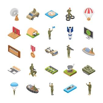 Iconos isométricos de fuerzas especiales militares