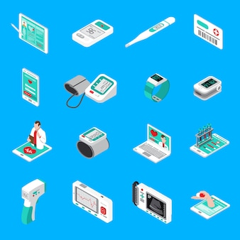 Iconos isométricos de gadgets médicos
