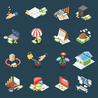 Iconos isométricos de gestión de patrimonio con estadísticas financieras y ganancias netas de operaciones en oscuridad aislada