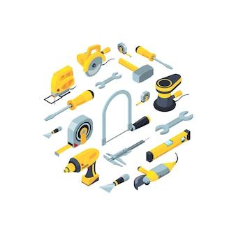 Iconos isométricos de herramientas de construcción en forma de círculo