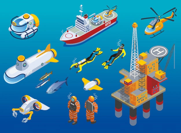 Iconos isométricos de investigación de profundidades submarinas