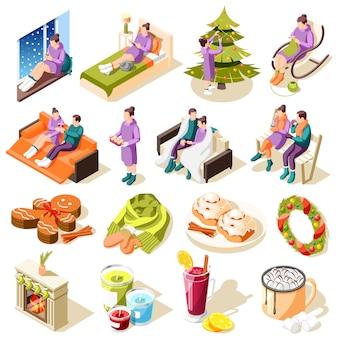 Iconos isométricos de invierno acogedor con pasatiempos confort hogareño comida festiva y decoraciones ilustración aislada