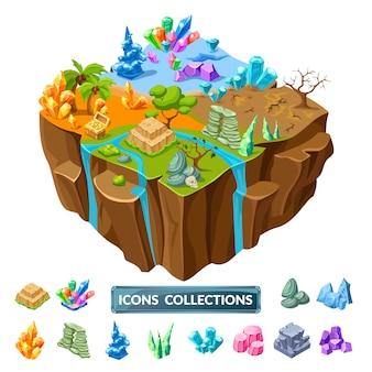 Iconos isométricos de isla y piedras de juego