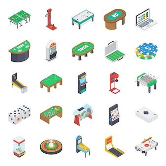 Iconos isométricos de juegos de mesa interior