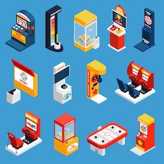 Iconos isométricos de la máquina de juego