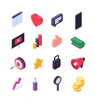 Iconos isométricos de marketing social. mensaje de medios y búsqueda de signos de redes sociales 3d.