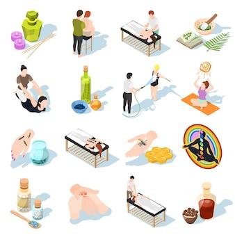 Iconos isométricos de medicina alternativa