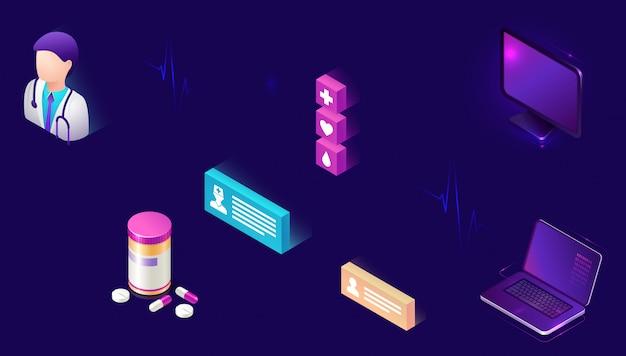 Iconos isométricos de medicina en línea, telemedicina