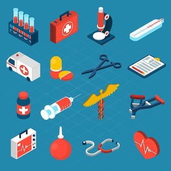 Iconos isométricos médicos