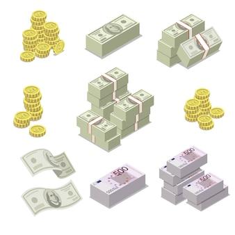Iconos isométricos de moneda euro y dólar