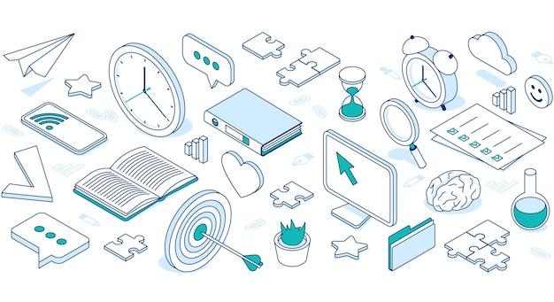 Iconos isométricos de negocios con nube, computadora, teléfono y reloj.