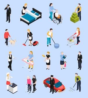 Iconos isométricos del personal doméstico