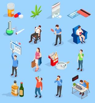 Iconos isométricos de personas de malos hábitos