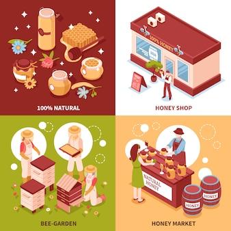 Iconos isométricos de producción de miel