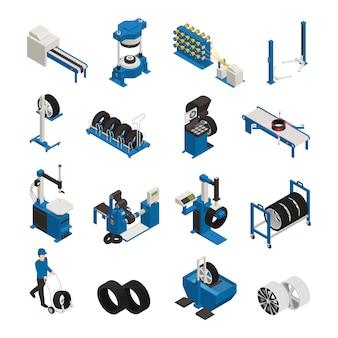 Iconos isométricos de producción de neumáticos con equipos industriales para la fabricación y mantenimiento de ruedas de automóviles.