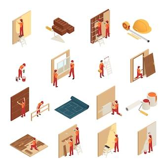 Iconos isométricos de renovación del hogar