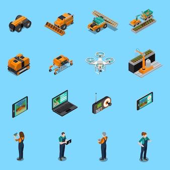 Iconos isométricos de robots agrícolas