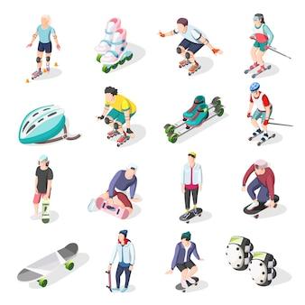 Iconos isométricos de rodillos y skaters