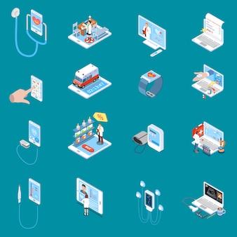 Iconos isométricos de salud móvil digital con consulta en línea dispositivos médicos de farmacia de internet azul aislado