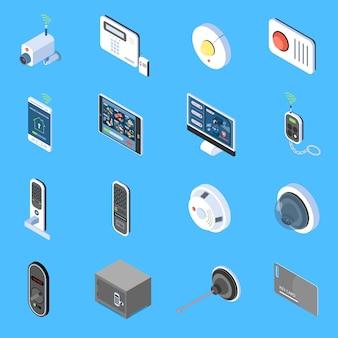 Iconos isométricos de seguridad para el hogar establecidos con elementos de alarma de incendio del sistema de videovigilancia y bloqueos de código aislados