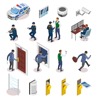 Iconos isométricos de sistemas de seguridad con sensores de movimiento láser, operadores de cámaras de vigilancia, oficiales en acción