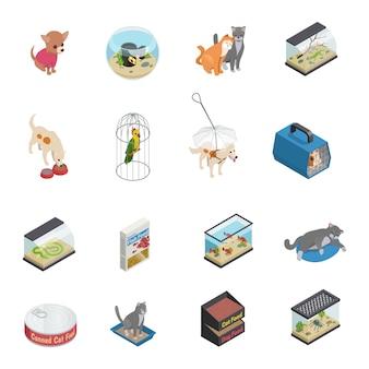Iconos isométricos de la tienda de mascotas con perros y gatos