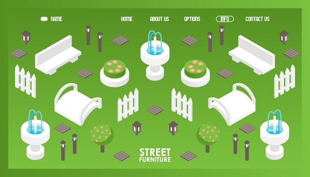 Iconos isométricos para tienda de mobiliario urbano.