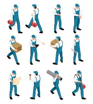 Iconos isométricos de los trabajadores con personajes masculinos en uniforme con herramientas en diferentes poses aisladas