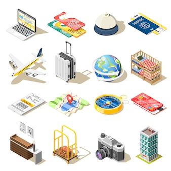 Iconos isométricos de viaje