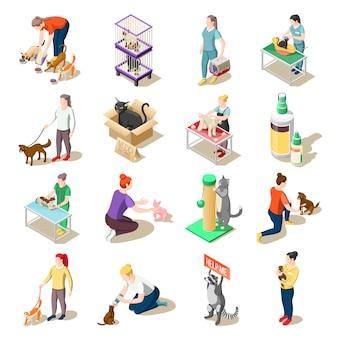 Iconos isométricos de voluntarios de cuidado de animales