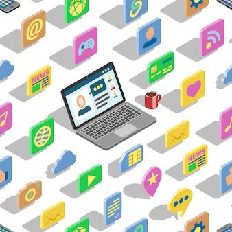 Iconos isométricos web conjunto de colección de oficina 3d y botones de computadora portátil para sitio web con símbolos icónicos isométricos de negocios internet digital y redes sociales sin fisuras de fondo