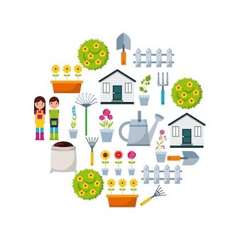 Iconos de jardinería en forma de círculo