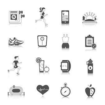 Iconos de jogging negro