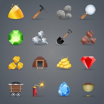 Iconos de juego de minería