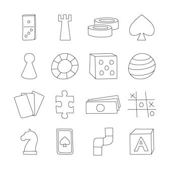 Iconos de juegos de mesa en la ilustración de vector de estilo de dibujos animados dibujados a mano