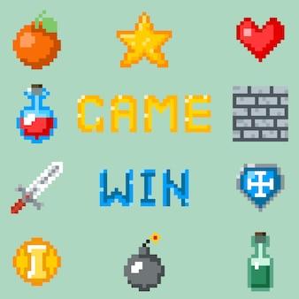 Iconos de juegos de píxeles, interfaz de videojuegos.