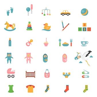 Iconos de juguetes para bebés sobre un tema de bebés y sus accesorios.