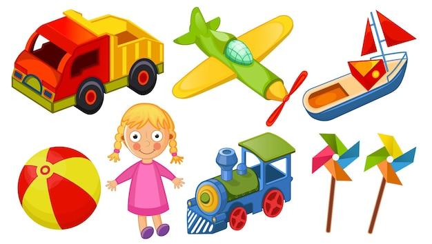 Iconos de juguetes para niños aislados en la ilustración de vector de fondo blanco