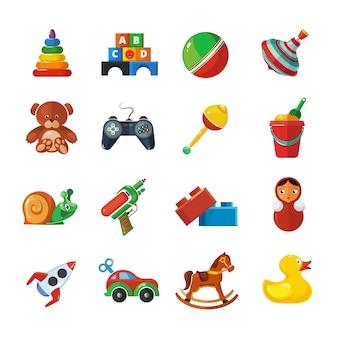 Iconos de juguetes para niños aislar en blanco