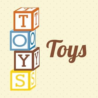 Iconos de juguetes sobre fondo punteado ilustración vectorial