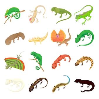 Iconos de lagarto en estilo de dibujos animados sobre un fondo blanco