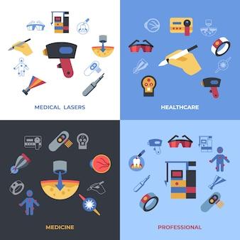 Iconos de láser de salud médica