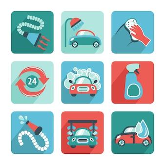 Iconos de lavado de coches plana