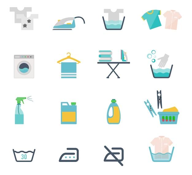 Iconos de lavado de colores y símbolos de lavandería en estilo plano