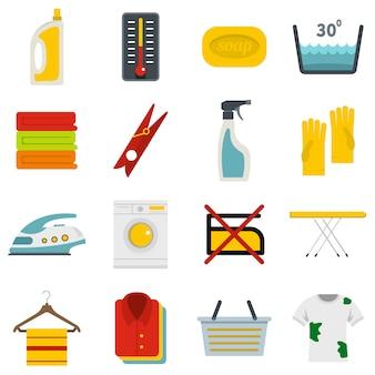 Iconos de lavandería en estilo plano