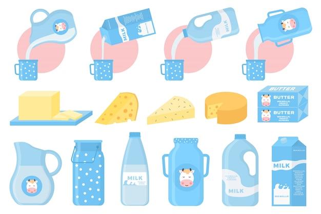 Iconos de leche y productos lácteos en un estilo plano para diseño gráfico, web y logotipo. colección de productos lácteos, incluyendo leche, mantequilla, queso, yogurt, requesón, helado, crema.