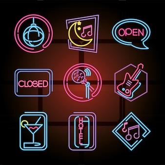 Los iconos de letrero de neón establecen ilustración de club nocturno, discoteca y karaoke