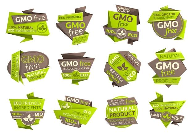 Iconos libres de ogm con símbolos de papel origami de comida vegana orgánica, eco verde y productos naturales saludables. diseño de emblemas aislados de ingredientes ecológicos con hojas frescas y follajes de plantas